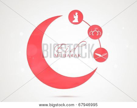 Stylish pink sticky in crescent moon shape with Islamic religious book Quran Shareef, mosque and young muslim man praying on grey background.