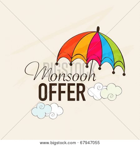 Monsoon offer banner design with colorful umbrella and clouds on beige background.