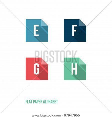 E F G H - Flat Design Paper Button Alphabet