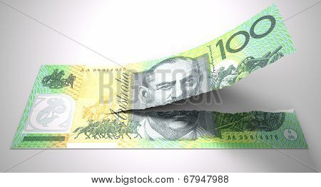 Tearing Australian Dollar Note