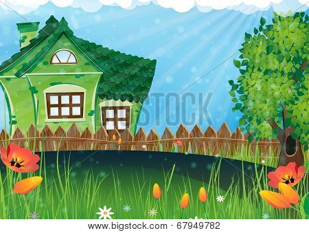 Rural House In The Meadow