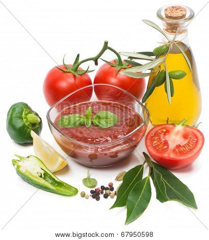 Bowl Of Tomato Sauce With Fresh Ingredients On White