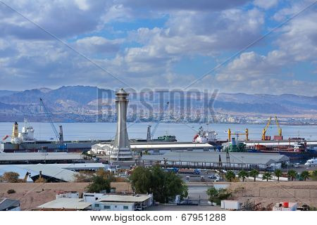 AQABA, JORDAN - MARCH 14, 2014: View to the cargo port of Aqaba. The port's location linking Africa and the Middle East