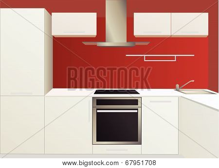 White And Red Kitchen With Household Appliances, Vector