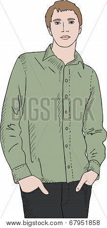 Young Man In Green Shirt, Hands In Pockets, Vector