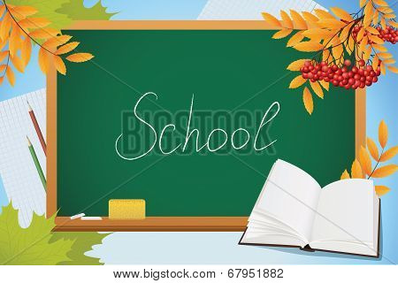 School Autumn Background With Blackboard, Book And Yellow Leves, Vector
