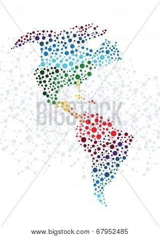 America abstract background with dot connection vector