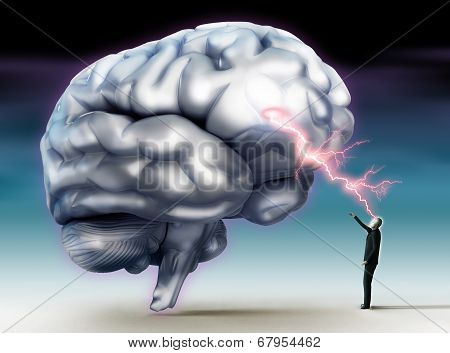 Brainstorm Conceptual Image With Human Brain