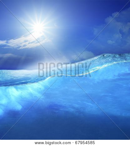 Under Clear Sea Blue Water With Sun Shining On Sky Above Use For Ocean Nature Background
