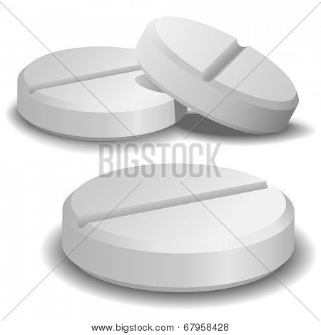 Three pills isolated on white background.
