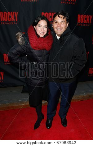 NEW YORK-MAR 13: Actors Kristen Lopez (L) and Bobby Lopez attend the 'Rocky' Broadway opening night at the Winter Garden Theatre on March 13, 2014 in New York City.