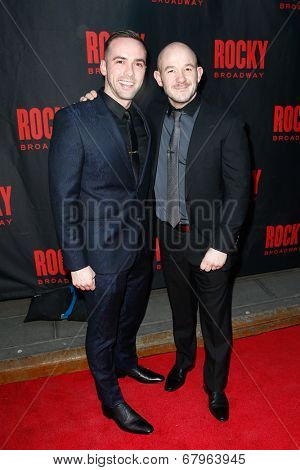 NEW YORK-MAR 13: Choreographer Stephen Hoggett (R)and guest attend the 'Rocky' Broadway opening night at the Winter Garden Theatre on March 13, 2014 in New York City.