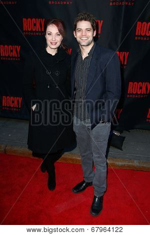 NEW YORK-MAR 13: Actors Jeremy Jordan (R) and Sierra Boggess attend the 'Rocky' Broadway opening night at the Winter Garden Theatre on March 13, 2014 in New York City.