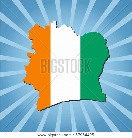 Ivory Coast map flag on blue sunburst vector illustration