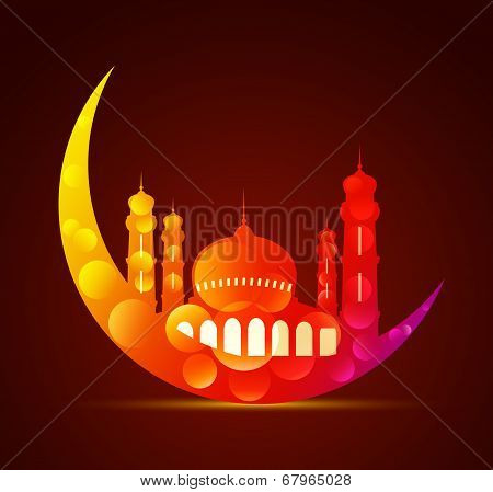 Moon With A Mosque In Various Colors
