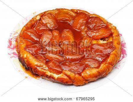 Apple Pie Tarte Tatin On Plate Isolated
