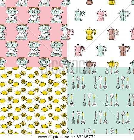 Seamless retro style coffee machine lemon and cutlery illustration background pattern in vector