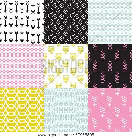 Seamless geometric arrow triangle abstract shapes in pastel wallpaper decorative background pattern in vector