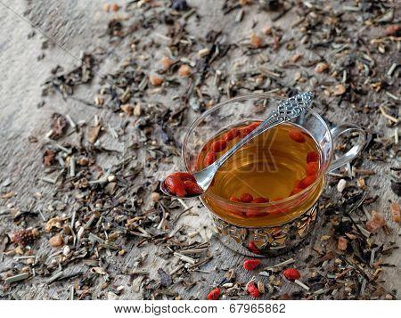 Dried goji berries soaked in hot tea