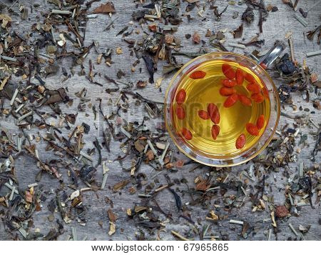 Dried goji berries soaked in green tea