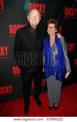 NEW YORK-MAR 13: Producer Joop Van Den Ende (L) and wife Janine Van Den Ende attend the 'Rocky' Broadway opening night after party at Roseland Ballroom on March 13, 2014 in New York City.