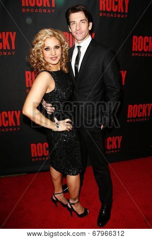 NEW YORK-MAR 13: Actress Orfeh and husband Andy Karl (R) attend the 'Rocky' Broadway opening night after party at Roseland Ballroom on March 13, 2014 in New York City.