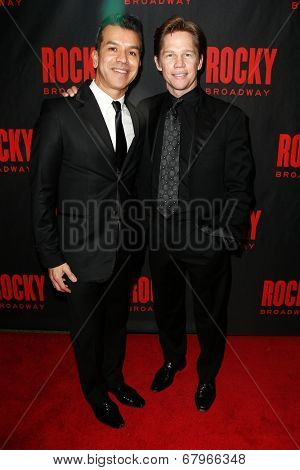 NEW YORK-MAR 13: Actor Jack Noseworthy (R) and choreographer Sergio Trujillo attend the 'Rocky' Broadway opening night after party at Roseland Ballroom on March 13, 2014 in New York City.