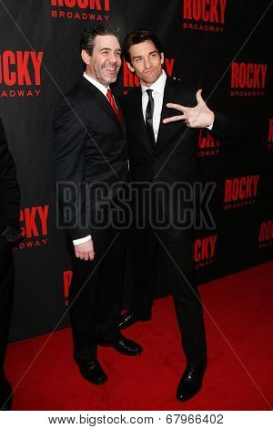 NEW YORK-MAR 13: Actors Kevin Del Aguila (L) and Andy Karl attend the 'Rocky' Broadway opening night after party at Roseland Ballroom on March 13, 2014 in New York City.