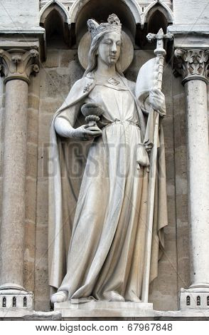 PARIS,FRANCE - NOV 05,2012: Allegories, The Church,architectural detail of Cathedral Notre Dame de Paris, most famous Gothic, Roman Catholic cathedral (1163-1345) on eastern half of Cite Island.France