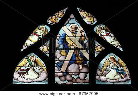 PARIS, FRANCE - NOV 11, 2012: Saint Andrew, stained glass, The Church of St Severin is Catholic church in the Latin Quarter of Paris. It is one of the oldest churches on the Left Bank.