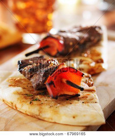 sirloin steak mini kabobs with pita bread