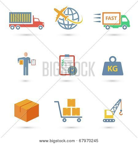 Logistic icons flat