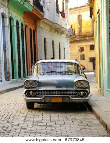 HAVANA, CUBA - OCT 5, 2008: Front view of vintage classic american car Chevorolet commonly used as private taxi in Havana.