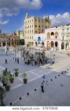 HAVANA, CUBA - MARCH 27, 2009: View of Plaza Vieja with art installation during 10th Havana Biennial.