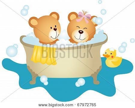 Couple Teddy Bear Taking A Bath