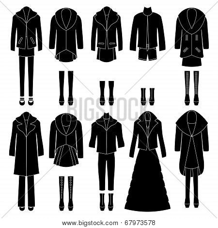 Set of women's clothing. Different combinations.