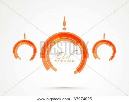 Beautiful orange mosque on grey background  for Muslim community festival Eid Mubarak celebrations.