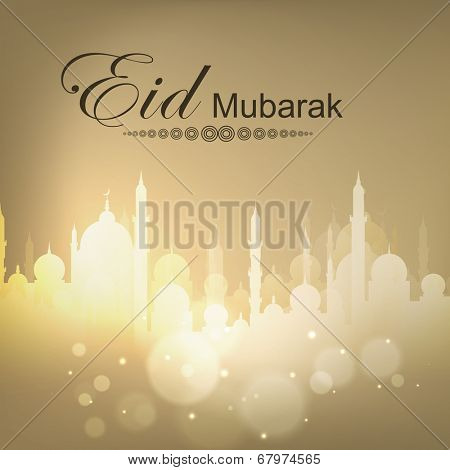 Shiny mosque on brown background for Muslim community festival Eid Mubarak celebrations.