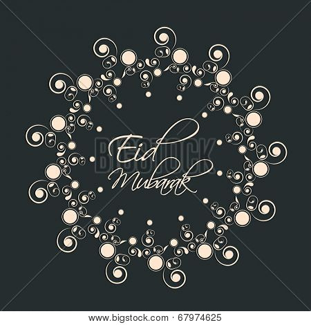 Beautiful shiny floral decorated frame on black background for Muslim community festival Eid Mubarak celebrations.