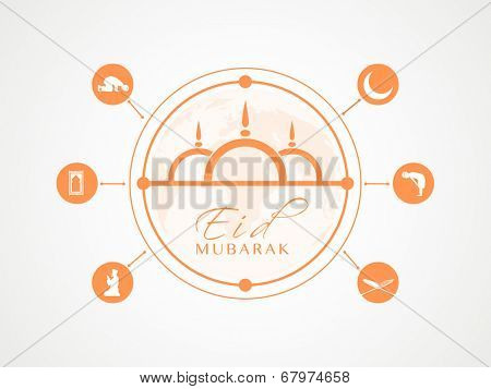 Stylish orange with Islamic religious book Quran Shareef, mosque and young muslim man praying on grey background for muslim community festival Eid Mubarak celebrations.