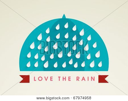 Stylish sticky design with raindrops. Monsoon Season concept.