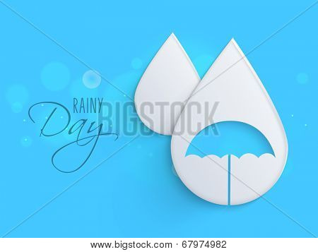Beautiful white raindrop with blue umbrella for rainy day.