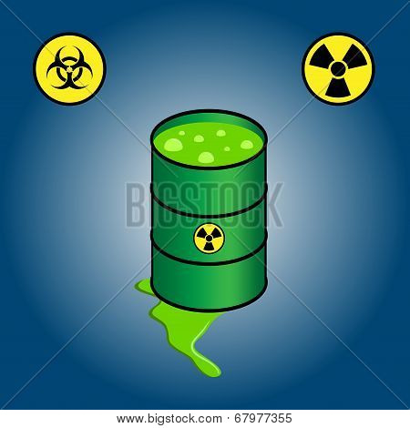Barrel leaking toxic waste + icons of biohazard and radioactivity