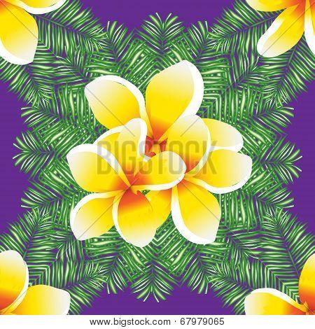 Plumeria seamless vector pattern palm leaves.