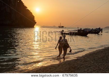 Sunset view at pranang beach of Railay Krabi Thailand