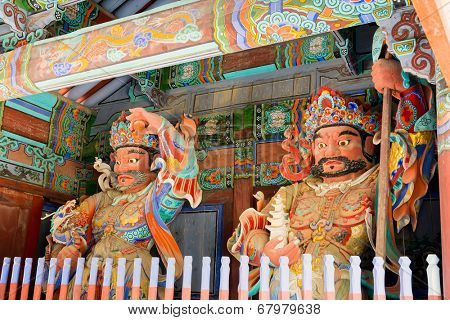 Guardian Demons at the Gates of Buddhist Sinheungsa Temple in Seoraksan National Park, South korea