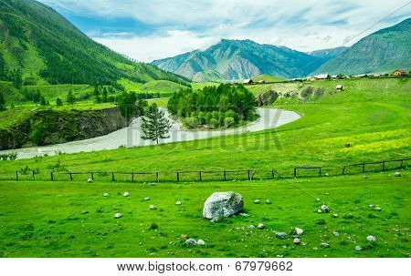Russian village and rural landscape at Altai, Russia