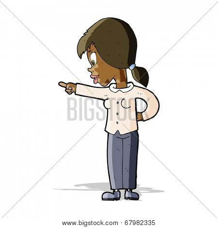 cartoon enthusiastic woman pointing
