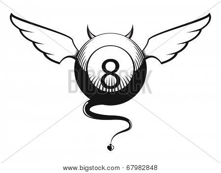 Illustration of devil eight ball with horns, wings and tail