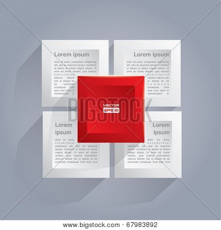 Infographics style vector background with white and red cubes